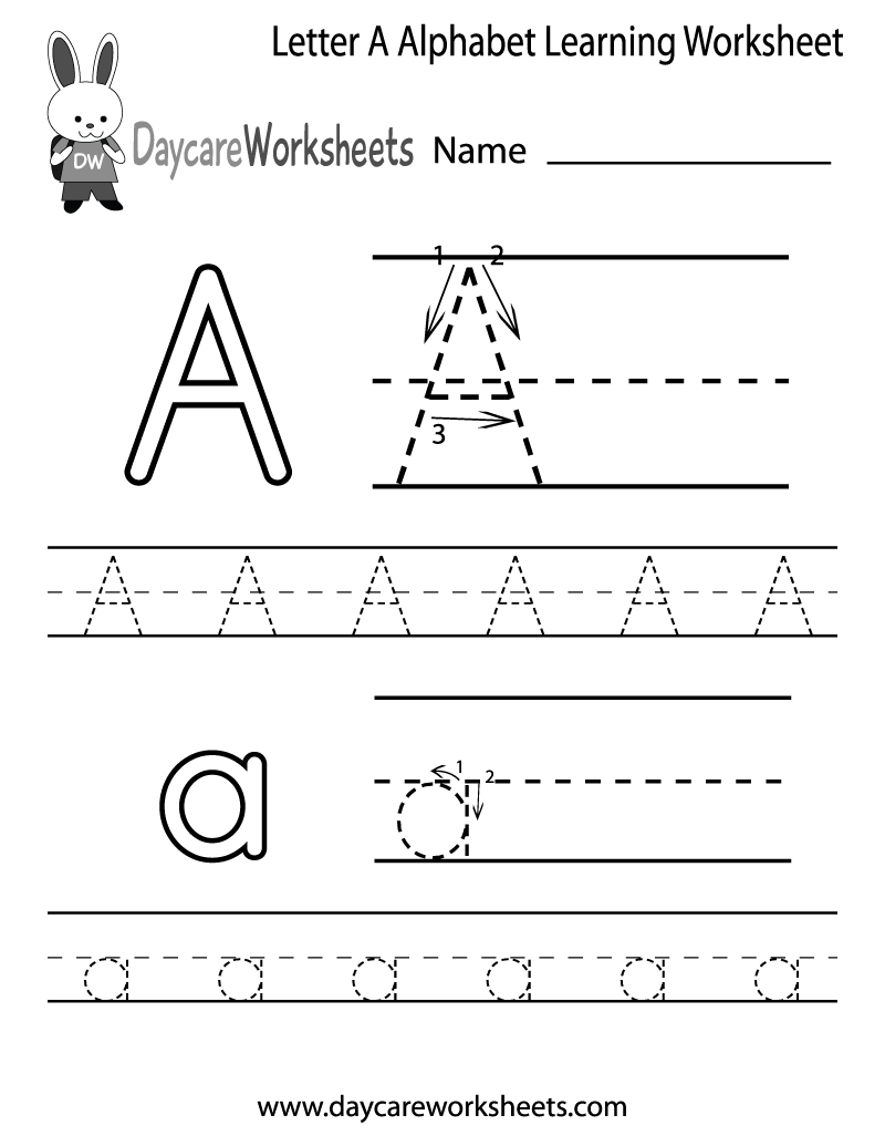 free letter a alphabet learning worksheet for preschool. Black Bedroom Furniture Sets. Home Design Ideas