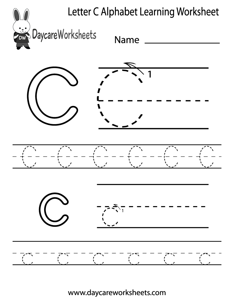 Workbooks letter u worksheets for kindergarten : Free Letter C Alphabet Learning Worksheet for Preschool