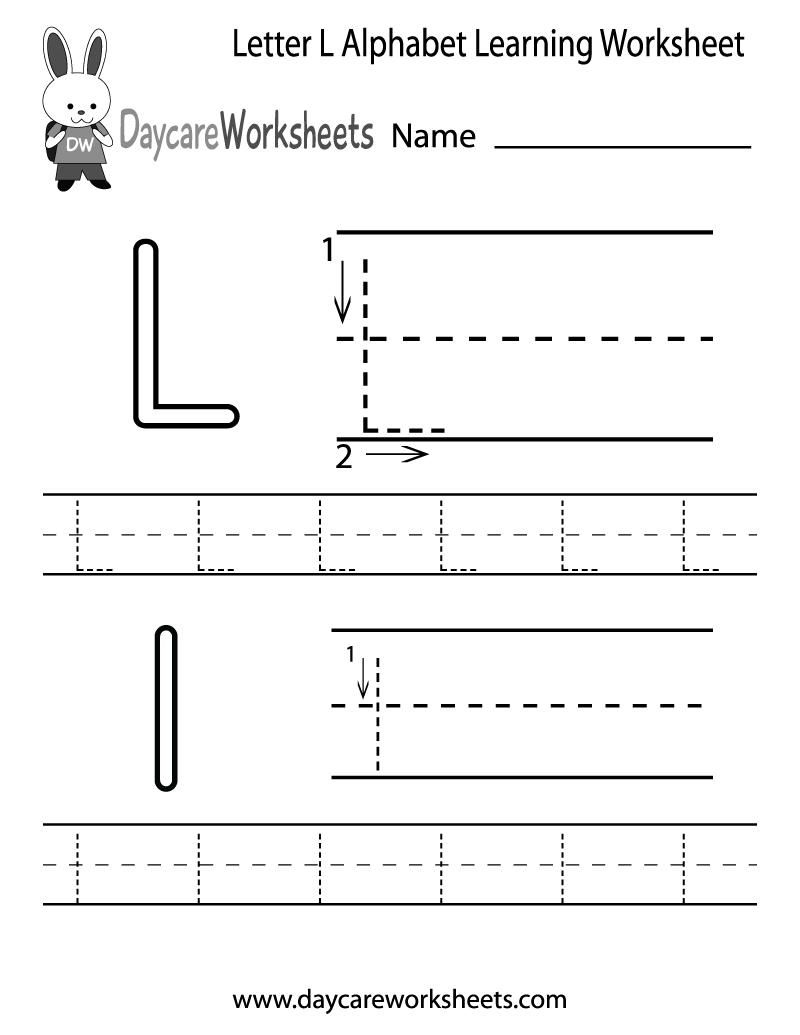 Free Letter L Alphabet Learning Worksheet for Preschool – Learning Letters Worksheets
