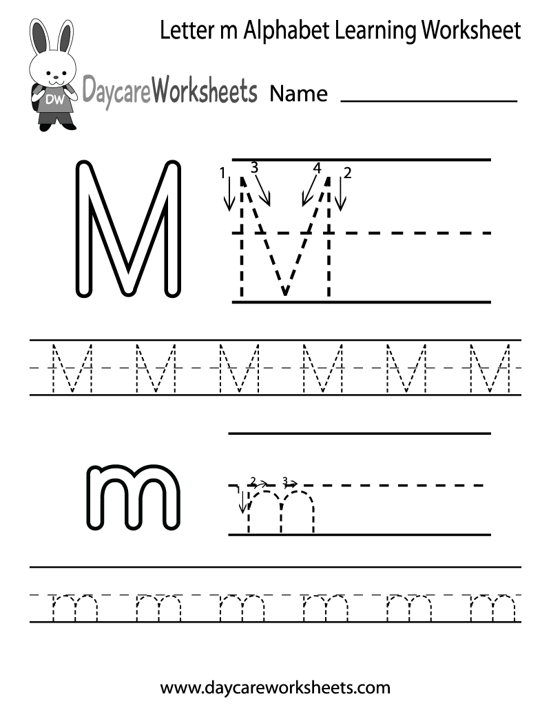Preschool Letter M Alphabet Learning Worksheet Printable.