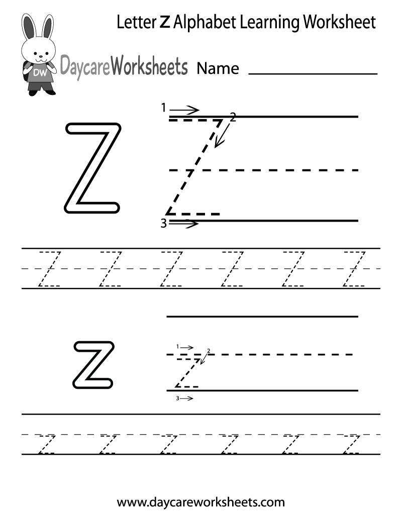 Preschool Letter Z Alphabet Learning Worksheet Printable