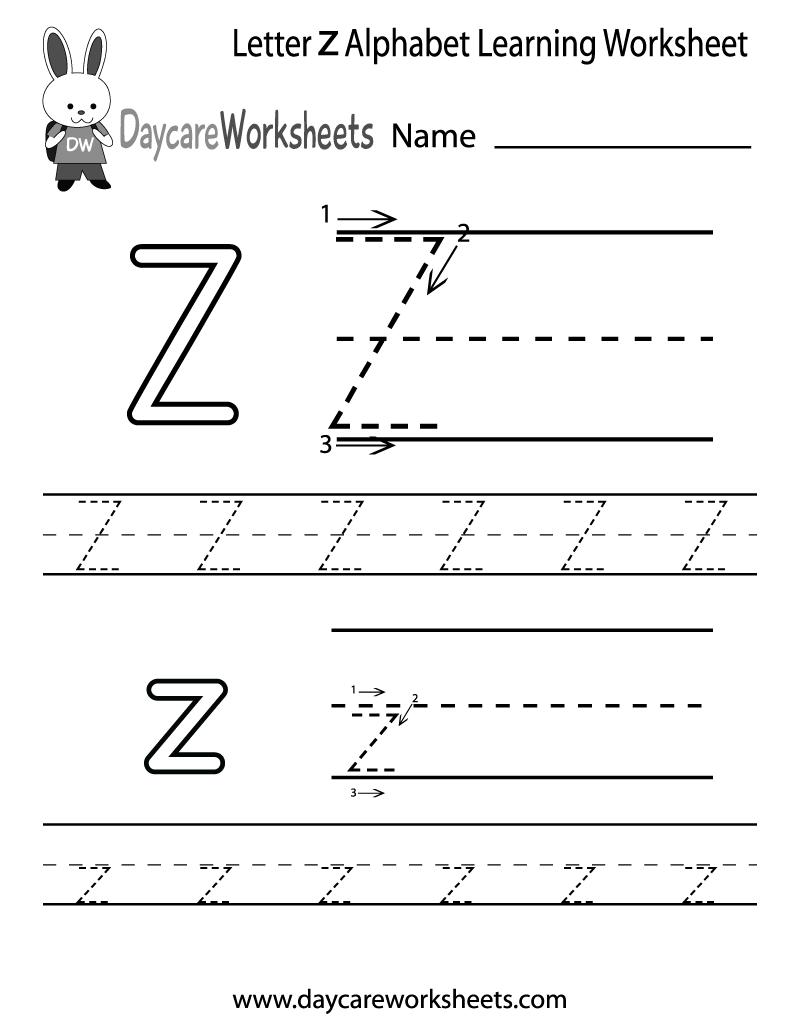 Free Letter Z Alphabet Learning Worksheet for Preschool – Daycare Worksheets