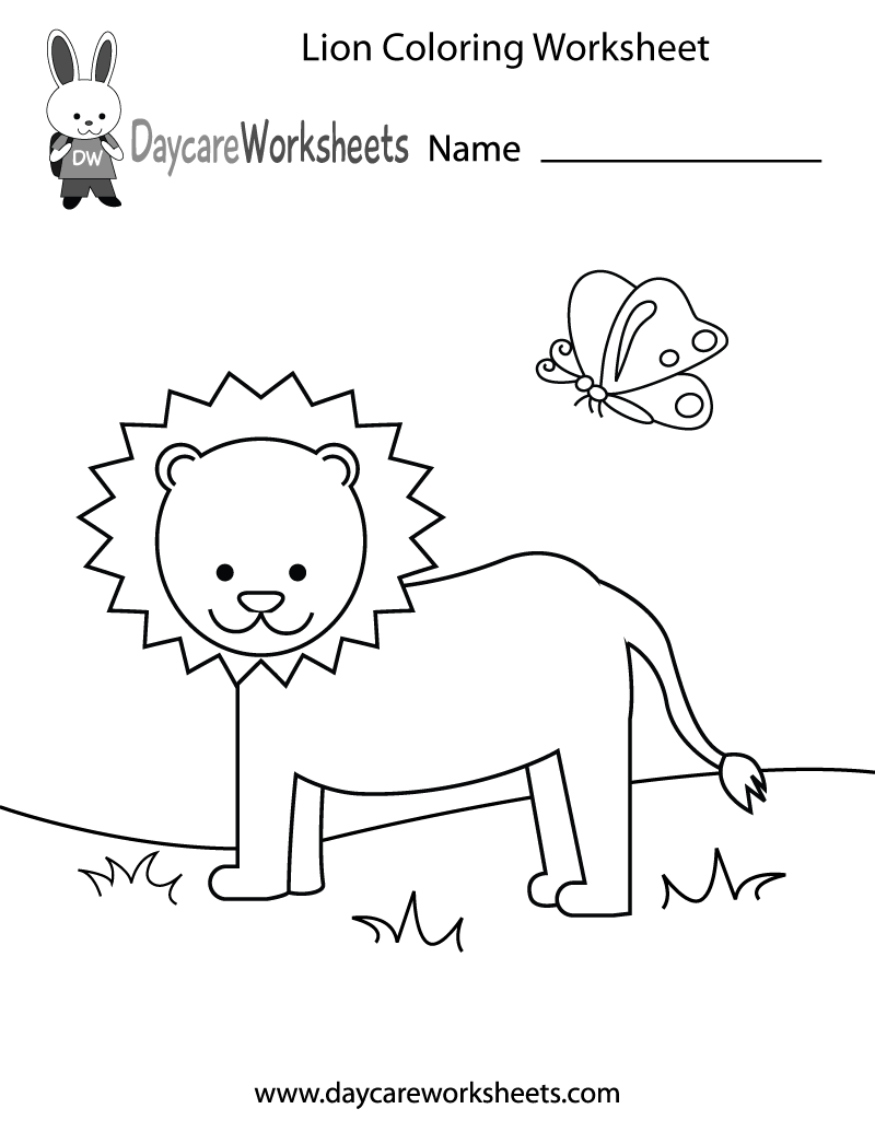 Free preschool lion coloring worksheet for Worksheet coloring pages