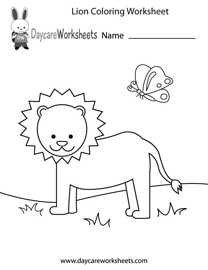 Free Preschool Lion Coloring Worksheet – Color Worksheets for Preschool