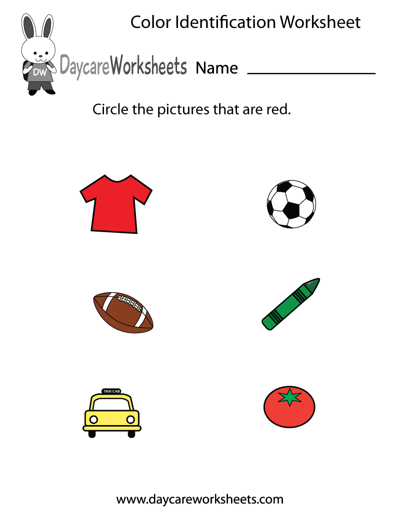 Free preschool color identification worksheet
