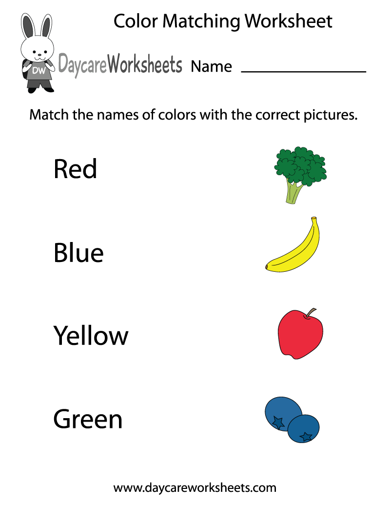 Free preschool color matching worksheet