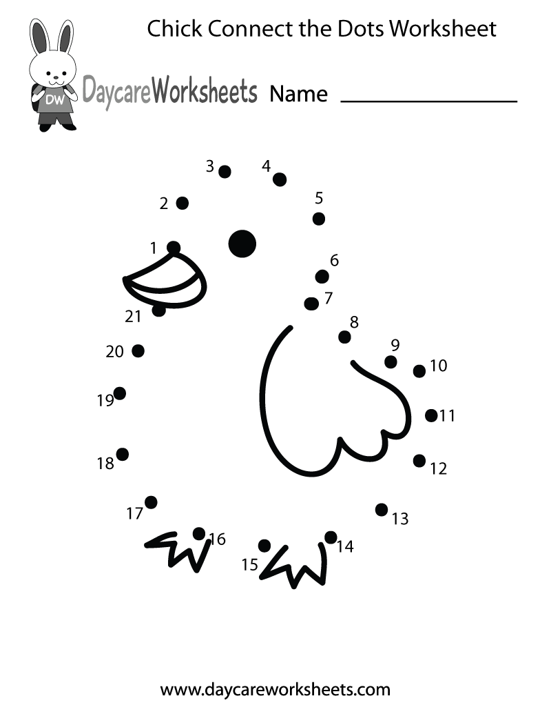 Free Preschool Chick Connect the Dots Worksheet