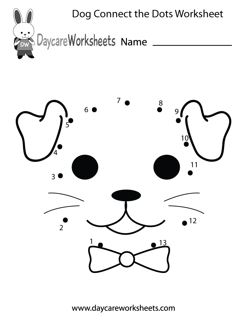 Preschool Dog Connect the Dots Worksheet Printable