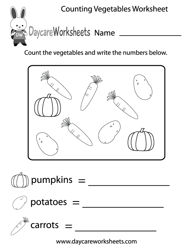 Free Counting Vegetables Worksheet for Preschool