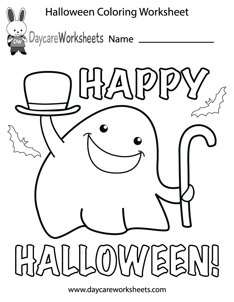 Free Preschool Halloween Coloring Worksheet