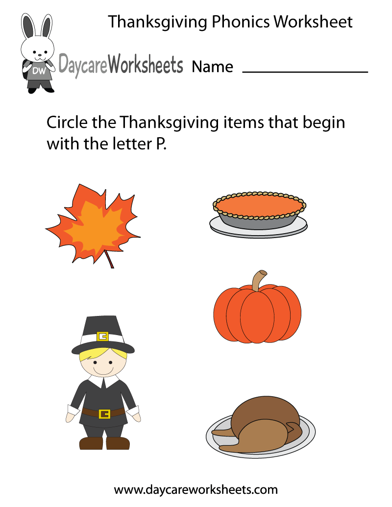 Preschool Thanksgiving Phonics Worksheet Printable