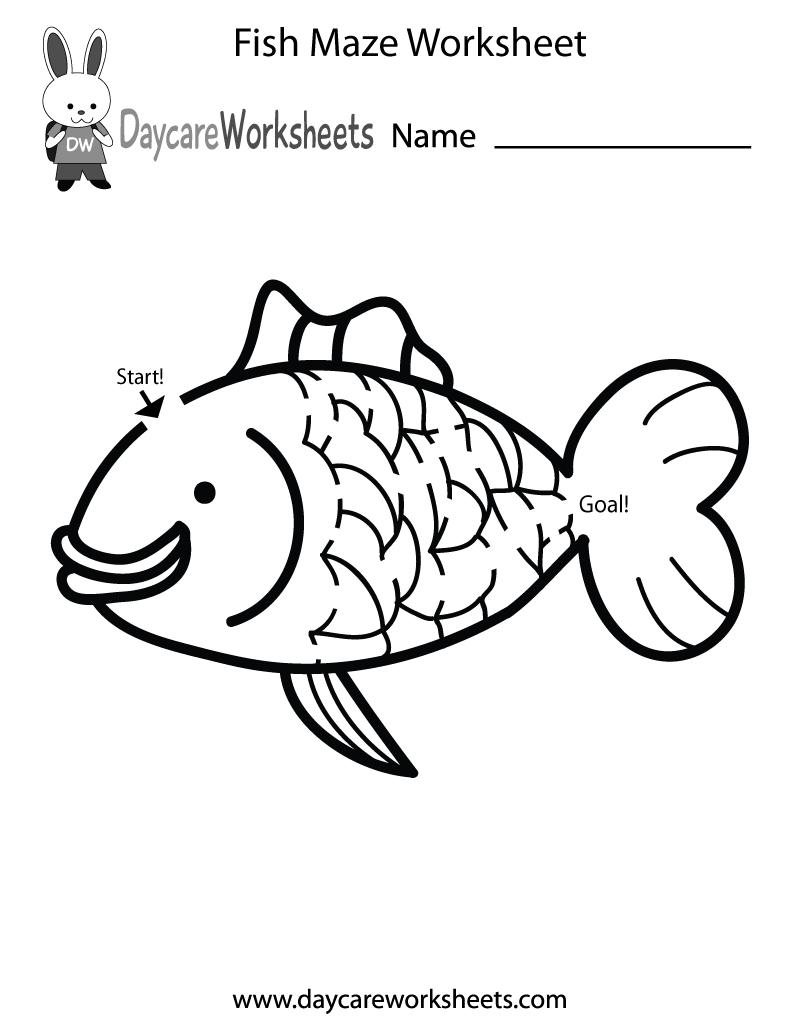 Preschool Fish Maze Worksheet Printable