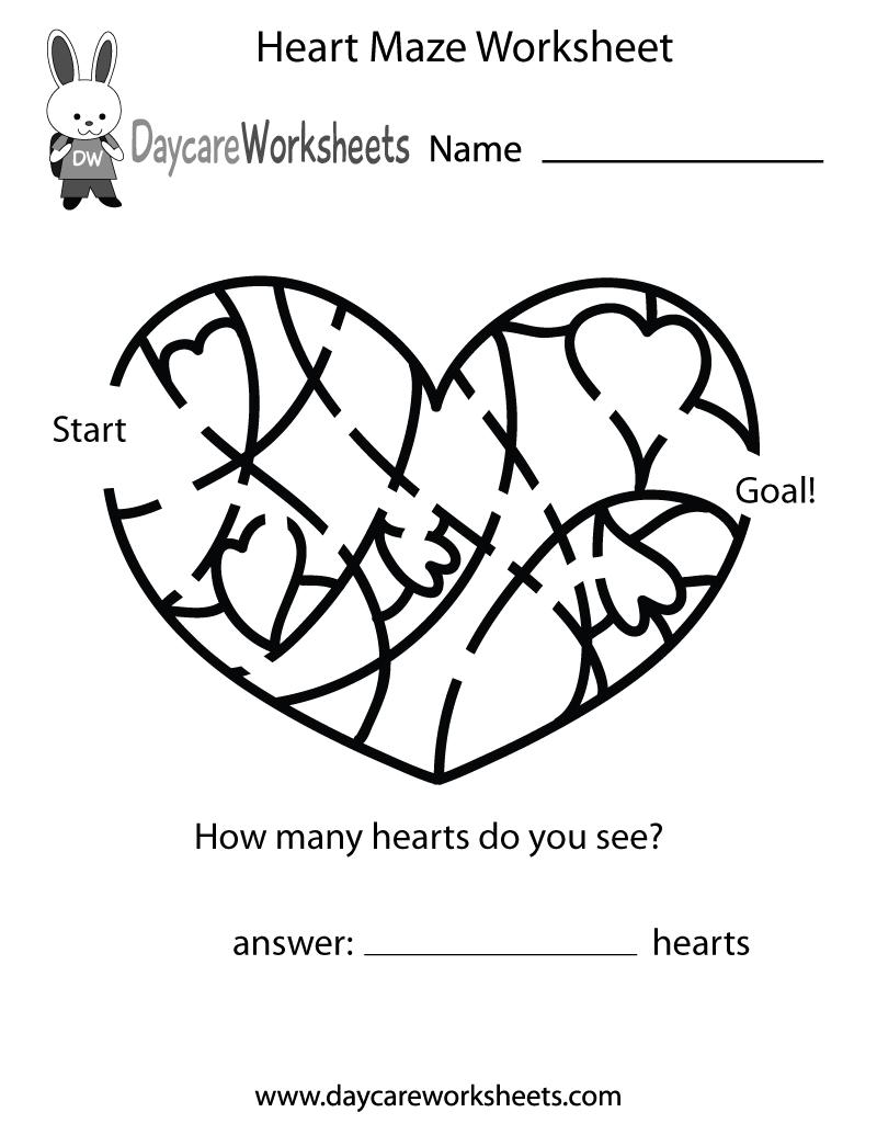 Preschool Heart Maze Worksheet Printable