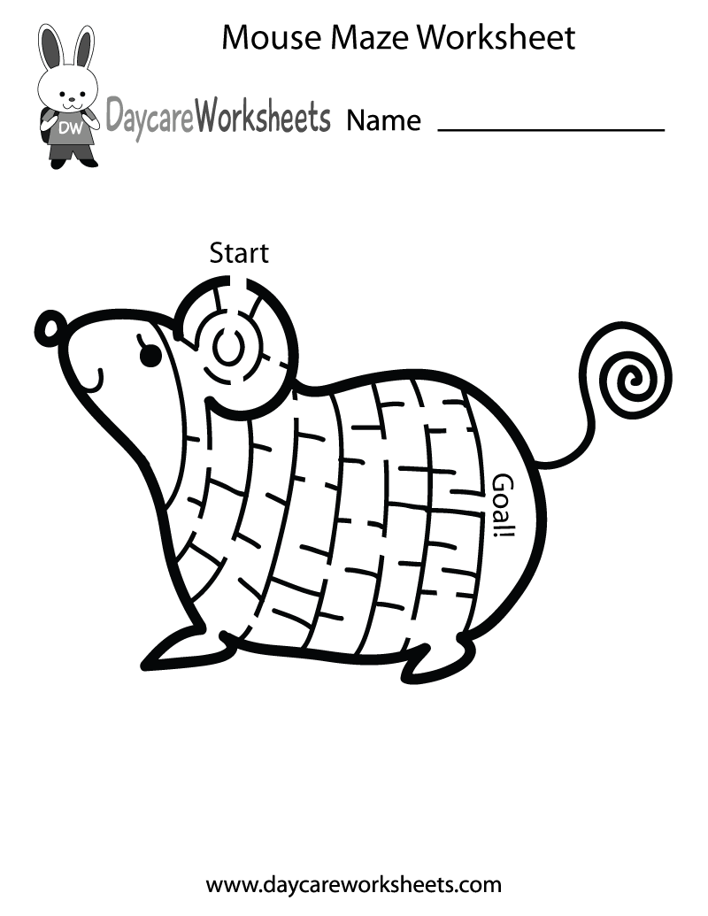 Preschool Mouse Maze Worksheet Printable