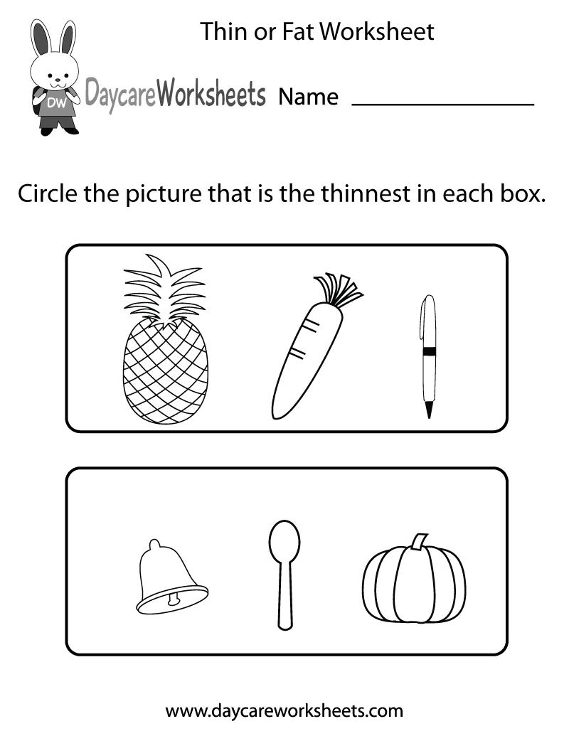Preschool Thin or Fat Worksheet Printable