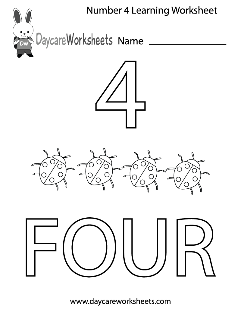 Free Preschool Number Four Learning Worksheet