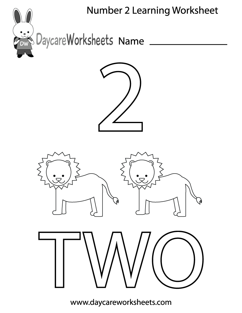 Free Preschool Number Two Learning Worksheet