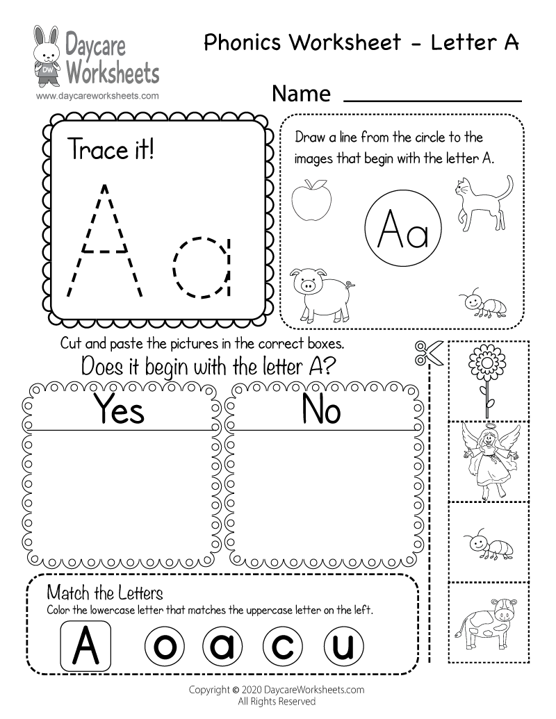 free beginning sounds letter a phonics worksheet for preschool. Black Bedroom Furniture Sets. Home Design Ideas