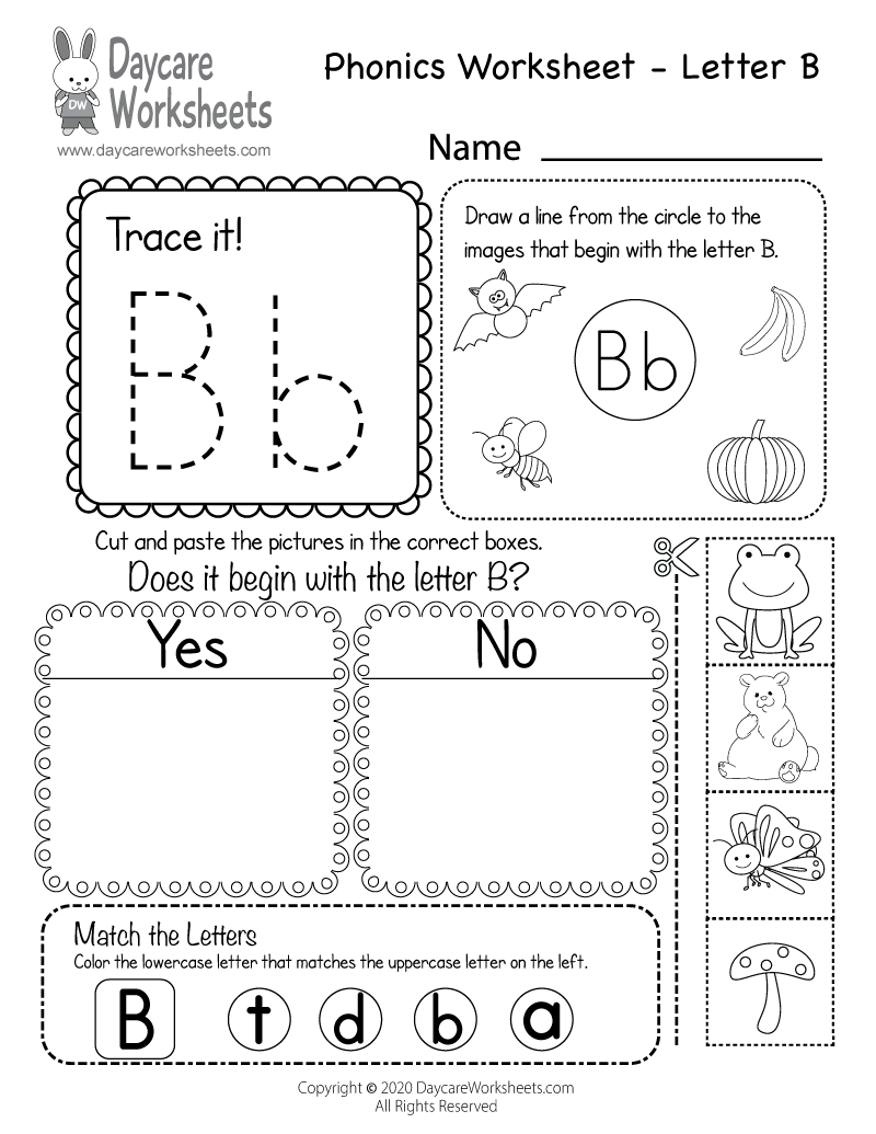 Free Printable Letter B Beginning Sounds Phonics Worksheet for Preschool