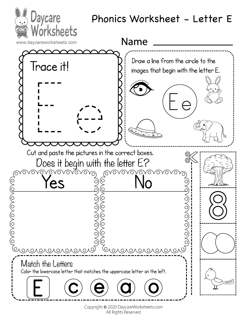 Preschool Beginning Sounds Letter E Phonics Worksheet Printable