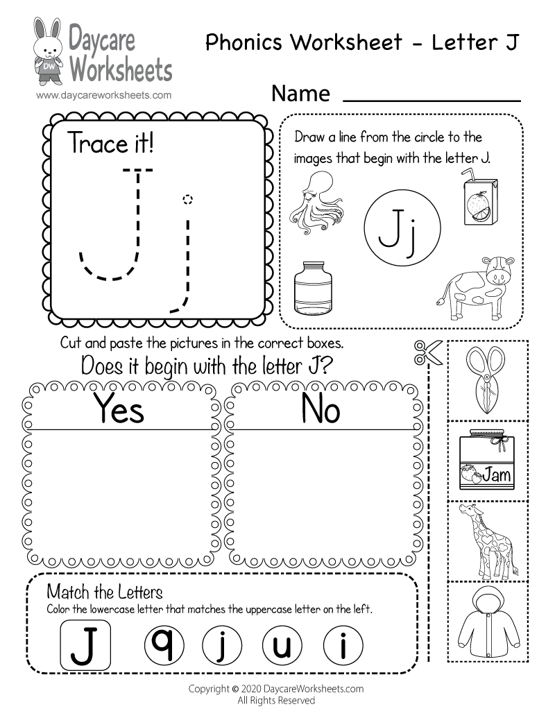 Preschool Beginning Sounds Letter J Phonics Worksheet Printable.