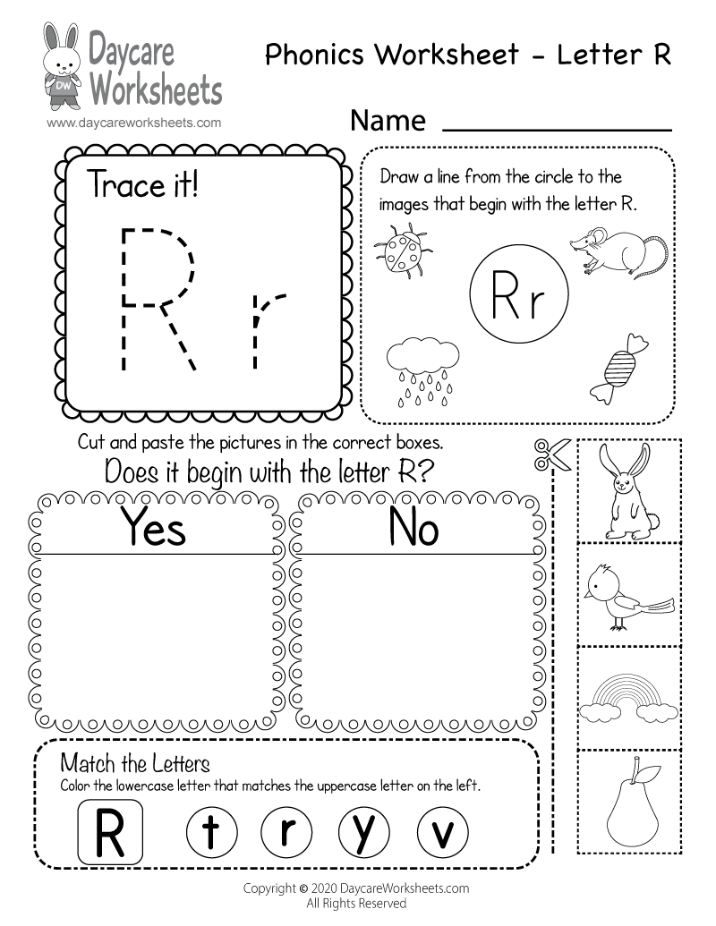 Preschool Beginning Sounds Letter R Phonics Worksheet Printable
