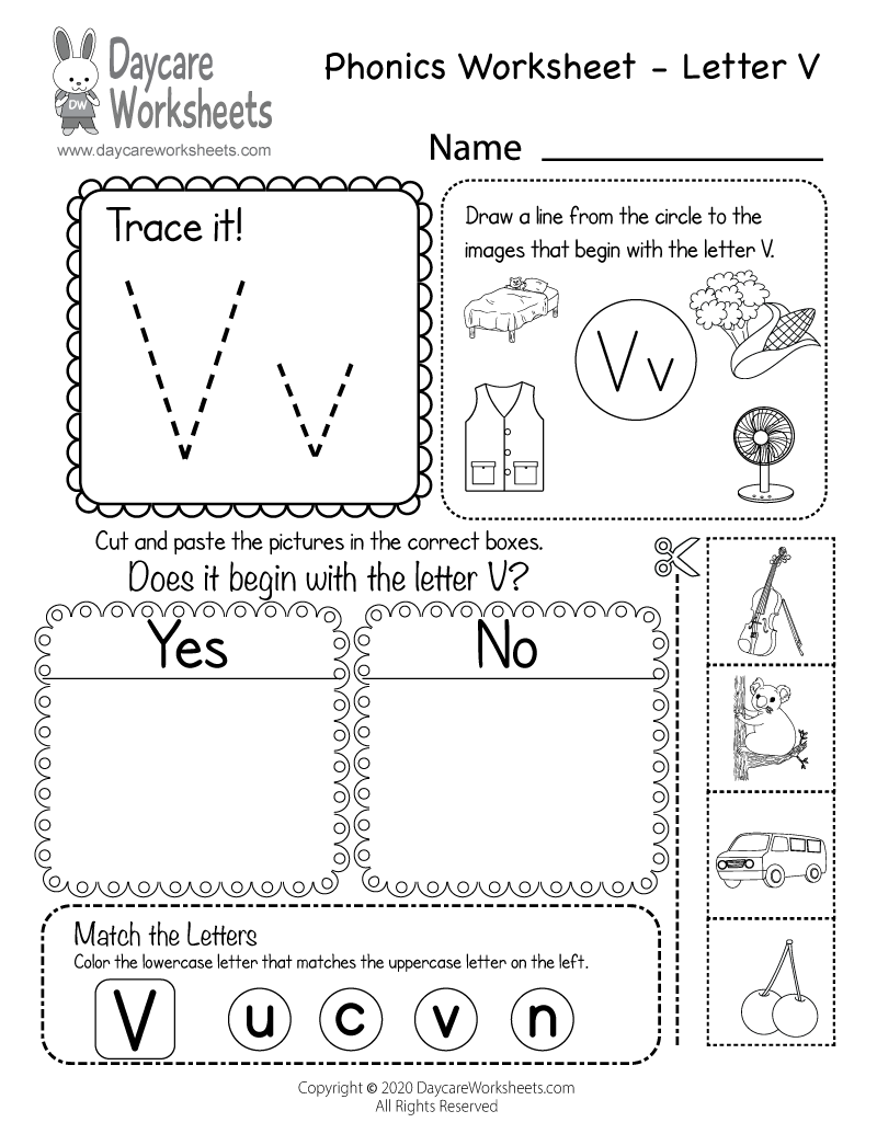 Free Beginning Sounds Letter V Phonics Worksheet for Preschool