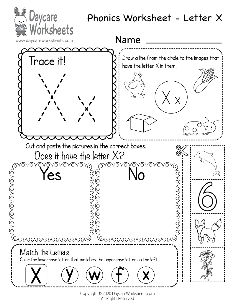 Preschool Beginning Sounds Letter X Phonics Worksheet Printable