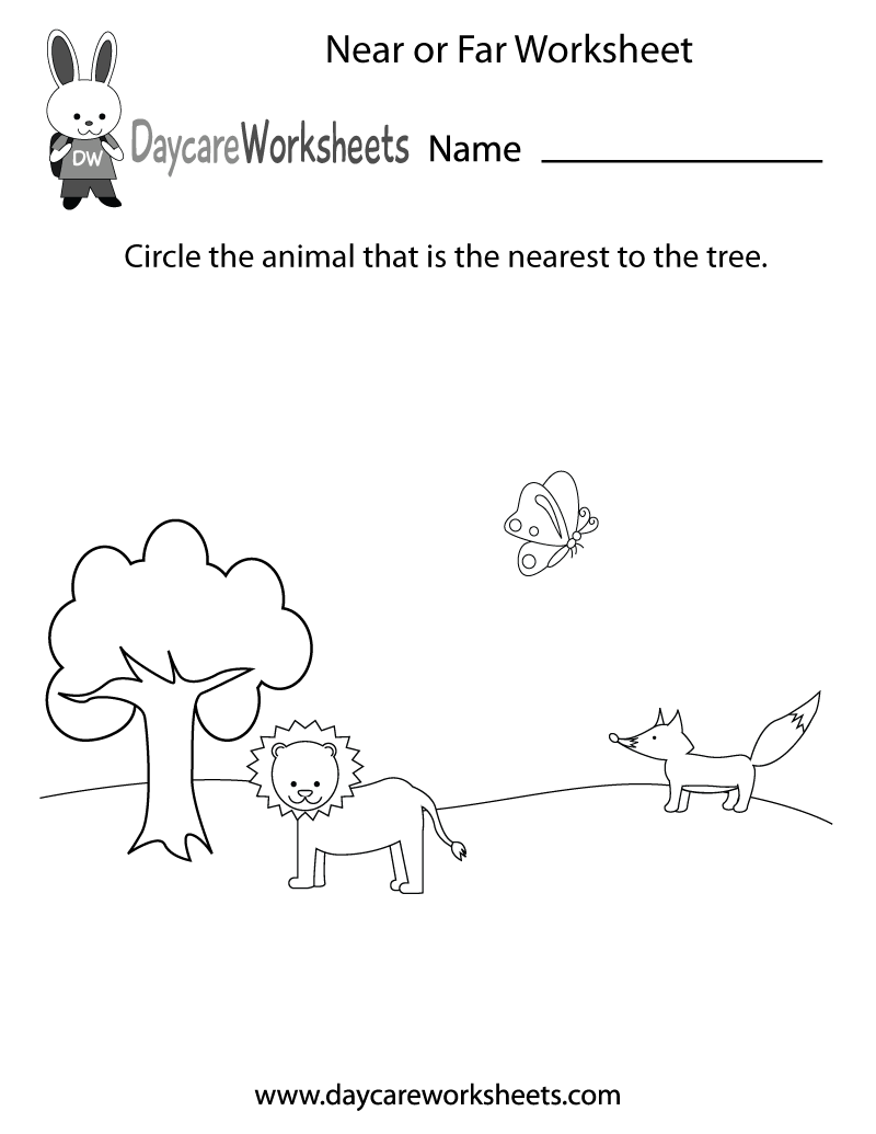 Workbooks kindergarten animal worksheets : Free Preschool Near or Far Worksheet