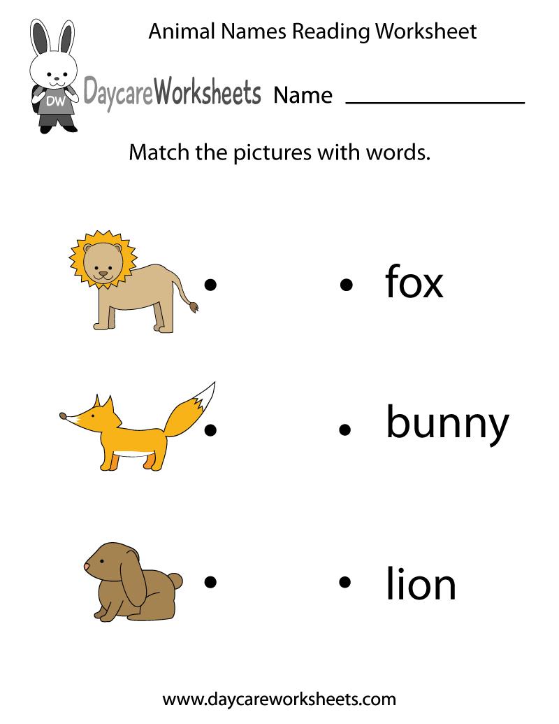 Free Animal Words Reading Worksheet for Preschool – Reading Readiness Worksheets