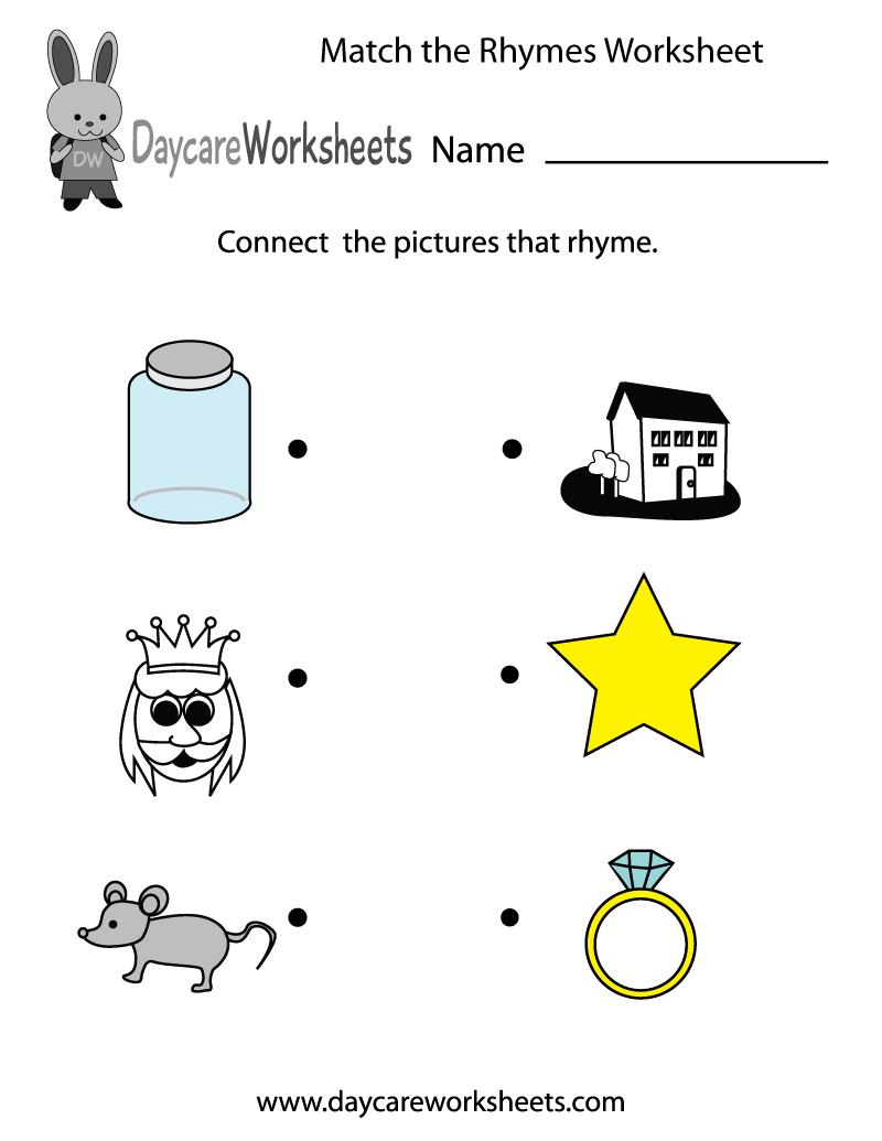 Preschool Match the Rhymes Worksheet Printable