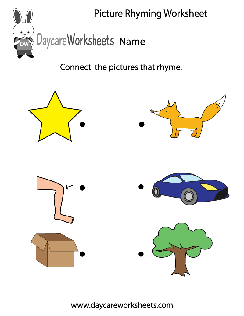 Preschool Picture Rhyming Worksheet Printable