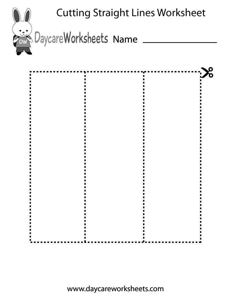Free Preschool Cutting Straight Lines Worksheet