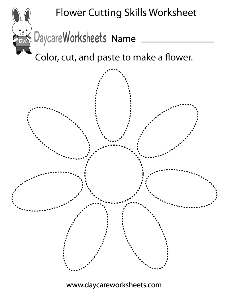 Preschool Flower Cutting Skills Worksheet Printable