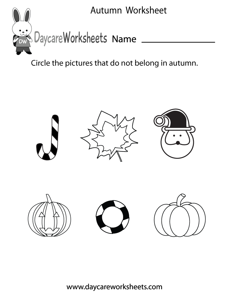 Preschool Autumn Worksheet Printable
