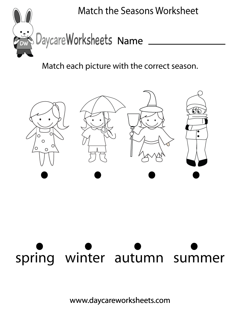 Match The Seasons Worksheet Printable on spring weather wear preschool