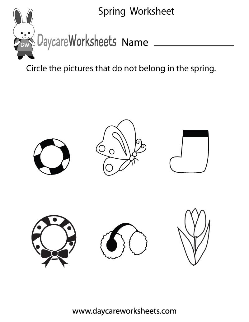 Preschool Spring Worksheet Printable