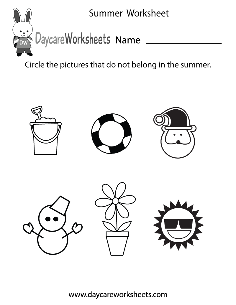 Preschool Summer Worksheet Printable