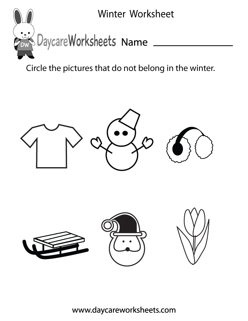 Preschool Winter Worksheet Printable