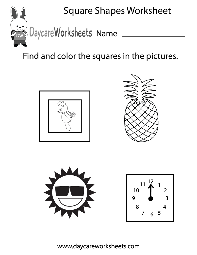 Preschool Square Shapes Worksheet Printable