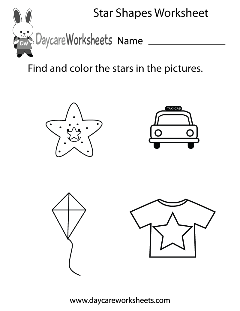 Preschool Star Shapes Worksheet Printable