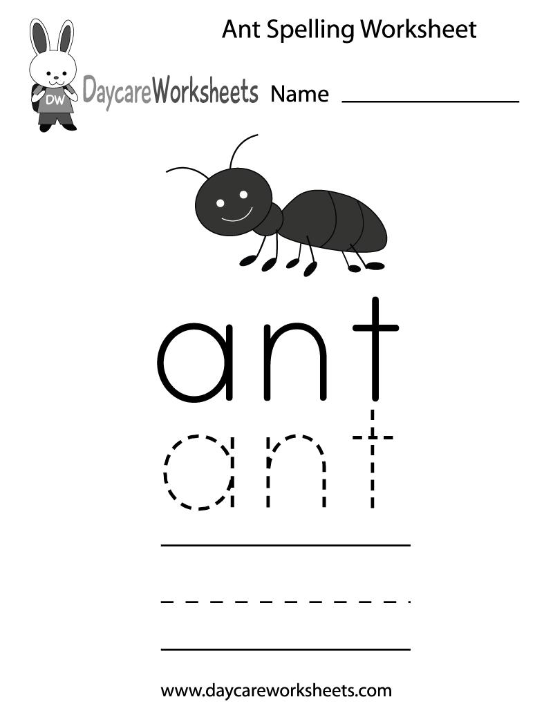 Preschool Ant Spelling Worksheet Printable