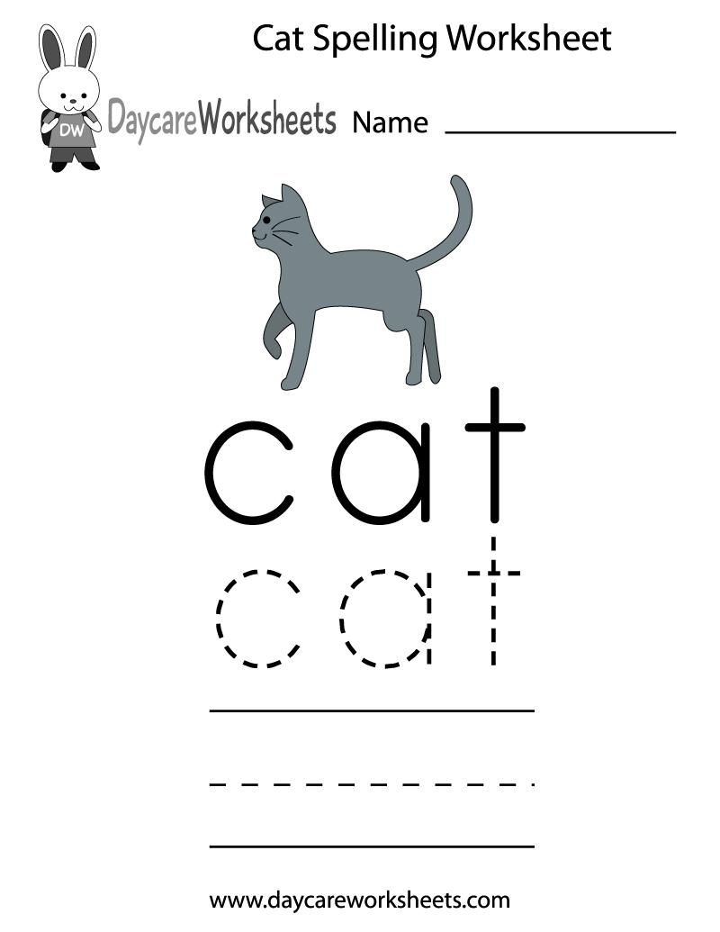 Preschool Cat Spelling Worksheet Printable