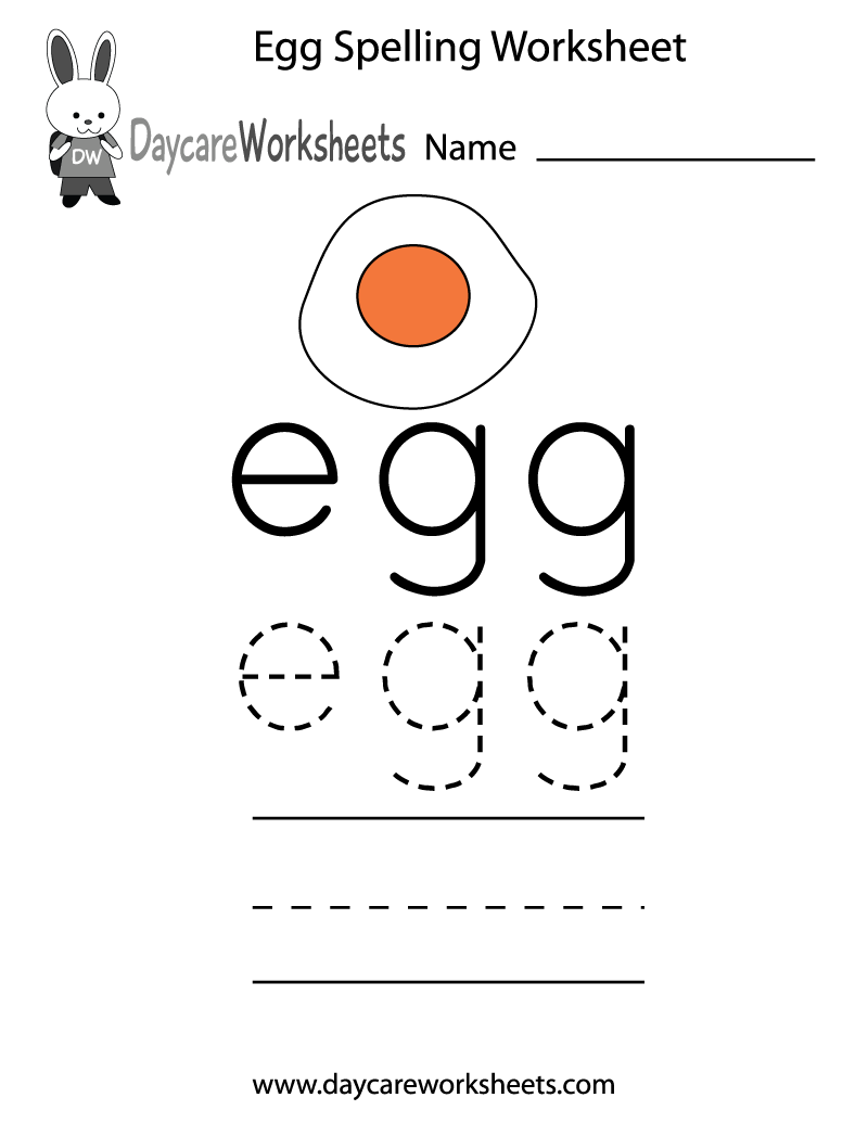 free preschool egg spelling worksheet. Black Bedroom Furniture Sets. Home Design Ideas