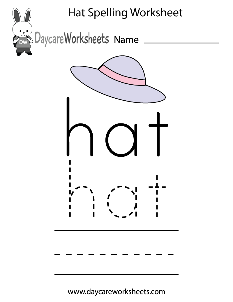 Free Preschool Hat Spelling Worksheet