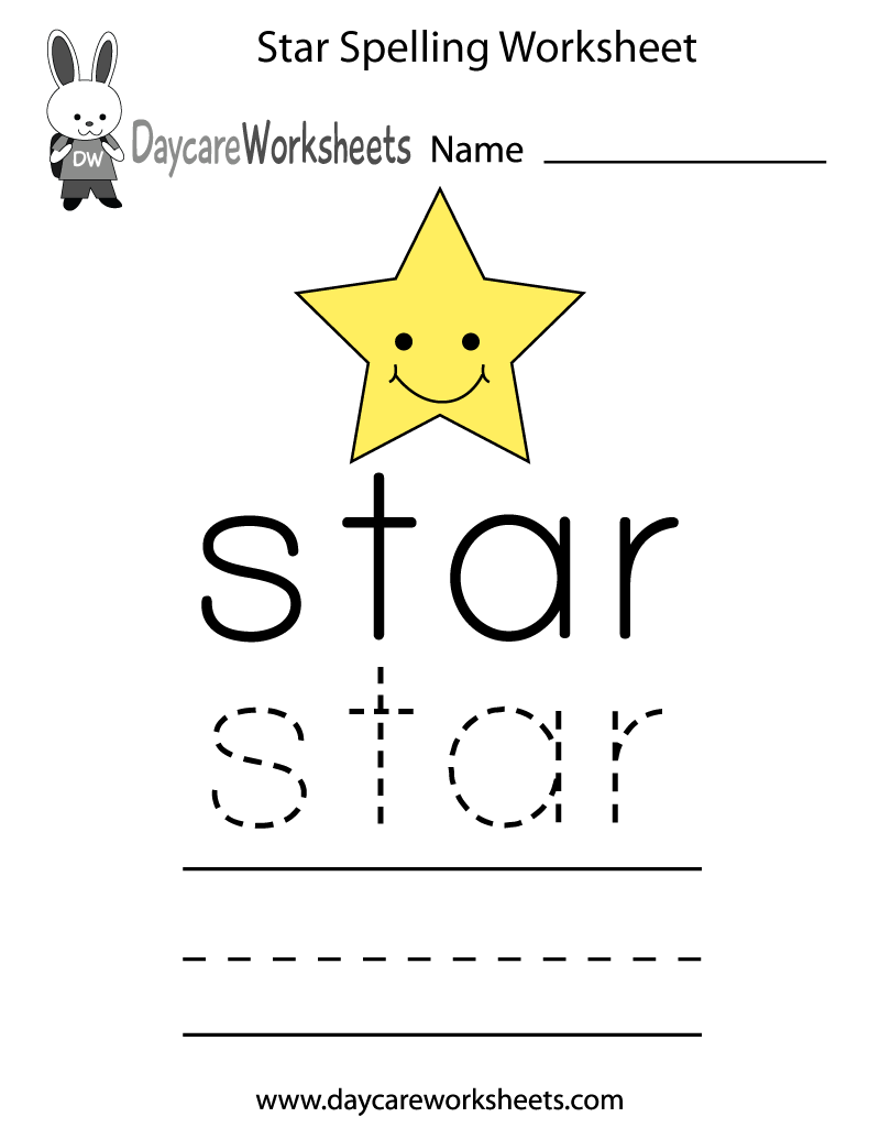 Preschool Star Spelling Worksheet Printable