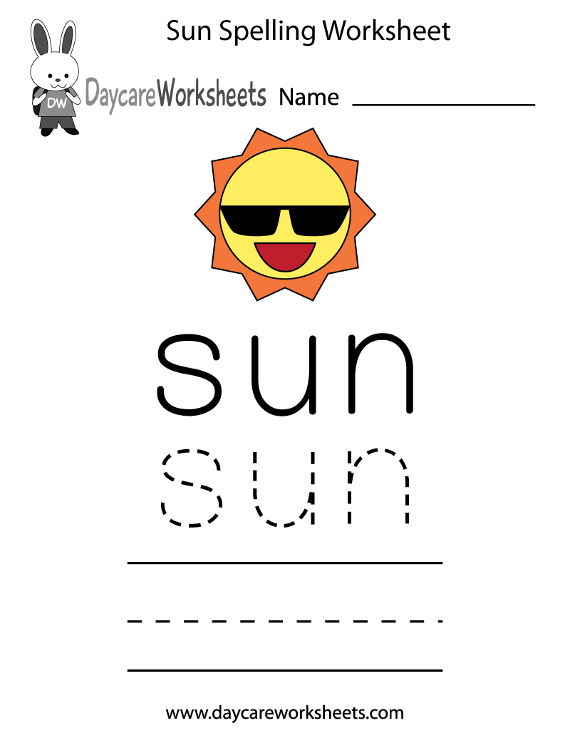 Preschool Sun Spelling Worksheet Printable