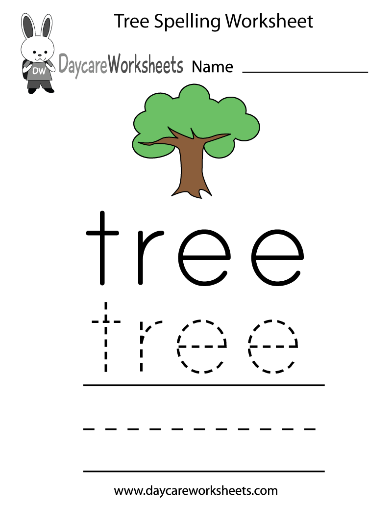 free preschool tree spelling worksheet. Black Bedroom Furniture Sets. Home Design Ideas