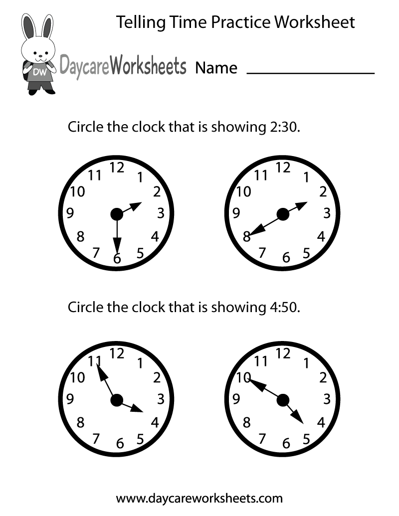 Preschool Telling Time Practice Worksheet Printable