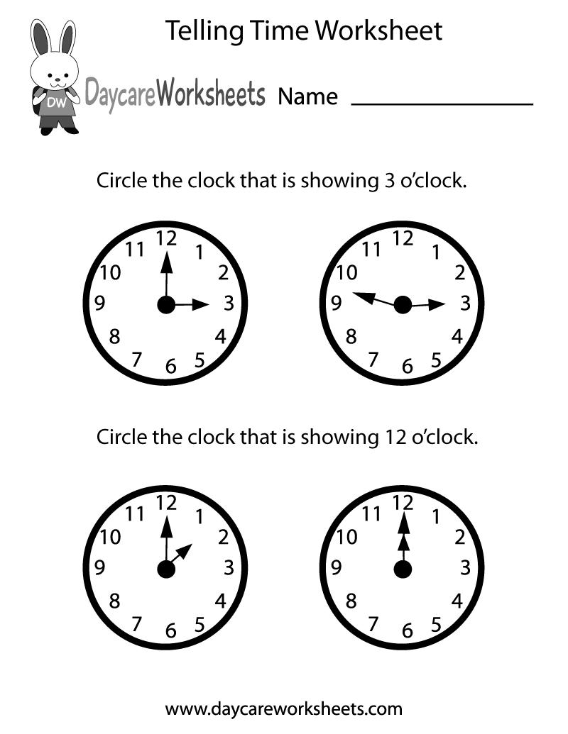 Free Preschool Telling Time Worksheet – Free Time Worksheets